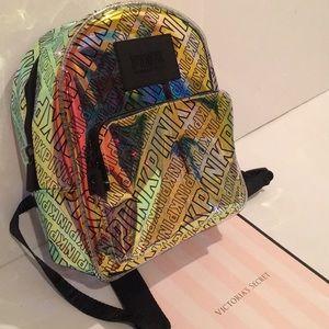 VS Pink logo mini clear backpack